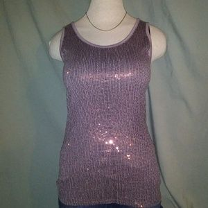 Maurices Tank Top. Mauve with Sequins. Size Med.